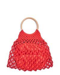 TOPSHOP Red Benny String Shopper Bag
