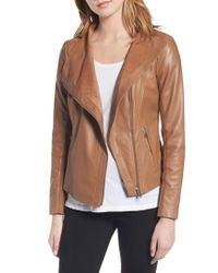 Trouvé - Brown Raw Edge Leather Jacket - Lyst
