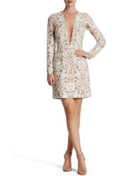 Dress the Population | White Plunging Illusion Sequin Lace Minidress | Lyst