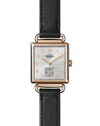 Shinola Metallic Cass Leather Strap Watch