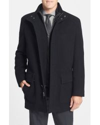 Cole Haan - Black Wool Blend Top Coat With Inset Bib for Men - Lyst
