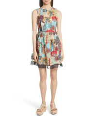 RED Valentino Multicolor Embroidered Fit & Flare Dress