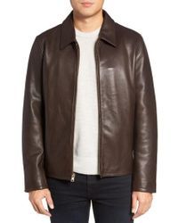 Vince Camuto - Black Leather Zip Front Jacket for Men - Lyst