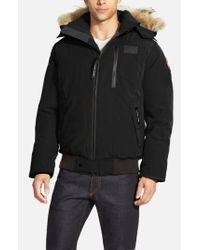 Canada Goose - Black 'borden' Regular Fit Bomber Jacket With Genuine Coyote Trim for Men - Lyst