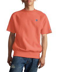 Champion Orange Reverse Weave Short Sleeve Sweatshirt for men