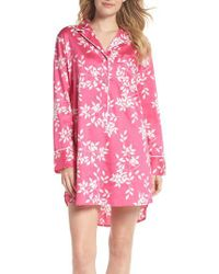 Natori Pink Branch Print Cotton Sateen Sleep Shirt