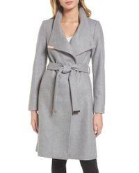 Ted Baker | Gray Wool Blend Long Wrap Coat | Lyst