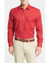 Cutter & Buck Red 'epic Easy Care' Classic Fit Wrinkle Free Sport Shirt for men