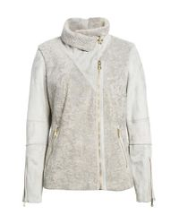 Vince Camuto - Gray Faux Shearling Jacket - Lyst