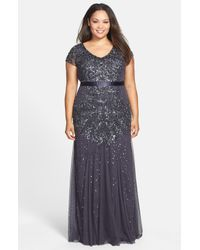 Adrianna Papell Gray Beaded V-neck Gown