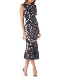 JS Collections - Blue Mesh Embroidered Cocktail Dress - Lyst