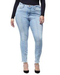 GOOD AMERICAN Blue Good Waist Zip Hem Ankle Skinny Jeans