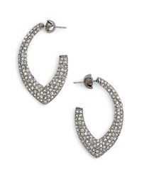 Jenny Packham - Metallic Pave Marquise Hoop Earrings - Lyst