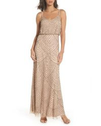 Adrianna Papell - Brown Embellished Blouson Gown - Lyst