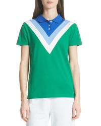 Tory Sport Green Chevron Piqué Polo Shirt