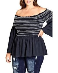 City Chic Blue Smocked Off The Shoulder Top