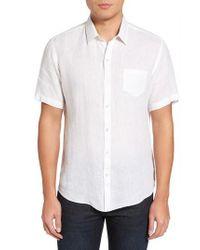 Zachary Prell White Kaplan Slim Fit Linen Sport Shirt for men