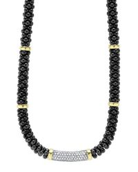 Lagos - Metallic 'black Caviar' 7mm Beaded Diamond Bar Necklace - Lyst