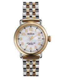 Shinola Metallic 'the Runwell' Bracelet Watch