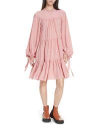 3.1 Phillip Lim - Pink Puff Sleeve Tiered Dress - Lyst