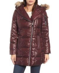 Andrew Marc - Purple Down & Feather Fill Coat With Genuine Coyote Fur - Lyst