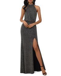 Xscape Halter Neck Metallic Knit Evening Gown