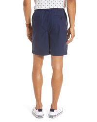 1901 Blue Slub Elastic Waist Slim Fit Shorts for men
