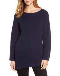 Chaus - Blue Ribbed Asymmetrical Hem Sweater - Lyst