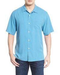 Tommy Bahama - Blue 'catalina Twill' Short Sleeve Silk Camp Shirt for Men - Lyst