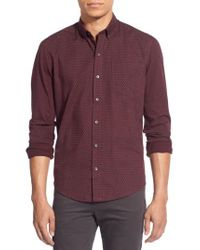 W.r.k. - Blue 'reworkd' Trim Fit Dot Print Mixed Media Sport Shirt for Men - Lyst