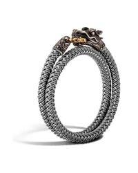 John Hardy - Gray Legends Naga Double Wrap Bracelet for Men - Lyst