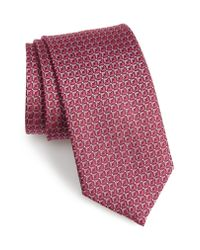 David Donahue Red Geometric Silk Tie for men