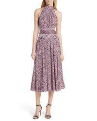 Diane von Furstenberg - Purple High Neck Silk Dress - Lyst