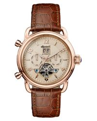 INGERSOLL WATCHES Metallic Ingersoll New England Automatic Open Heart Leather Strap Watch