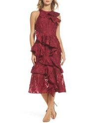 Keepsake - Red Shine Ruffle Lace Tea Length Dress - Lyst