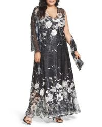 Komarov Black Lace-up Back Floral Gown & Shawl