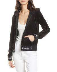 Juicy Couture Black Robertson Jacquard Velour Hoodie