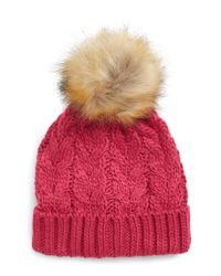 BP. Multicolor Knit Beanie With Faux Fur Pompom