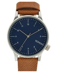 Komono - Blue 'winston' Round Dial Leather Strap Watch for Men - Lyst
