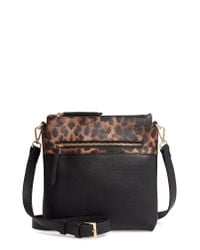 Sondra Roberts Black Colorblock Faux Leather Crossbody Bag