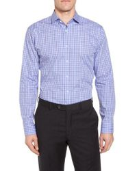 Nordstrom Purple Trim Fit Plaid Dress Shirt for men