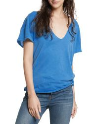 Free People - Blue Lilly Side Tie Tee - Lyst