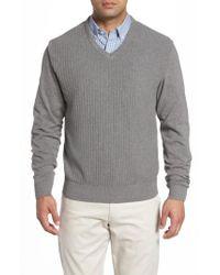 Cutter & Buck - Gray Bryant V-neck Sweater for Men - Lyst