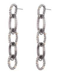 Alexis Bittar Black Crystal Encrusted Mesh Chain Earrings