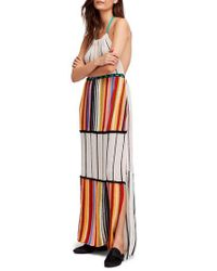 Free People Blue Mardi Gras Halter Maxi Dress