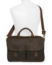 Barbour Brown Waxed Canvas Briefcase for men
