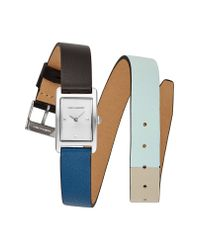 Rebecca Minkoff - Multicolor Moment Silver Tone Black And Mint Leather Watch, 19x30mm - Lyst