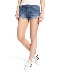 Volcom - Blue Rolled Denim Shorts - Lyst