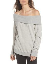 Pam & Gela - Gray Off The Shoulder Sweatshirt - Lyst