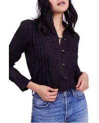 Free People Black Breezy Mornings Linen Shirt